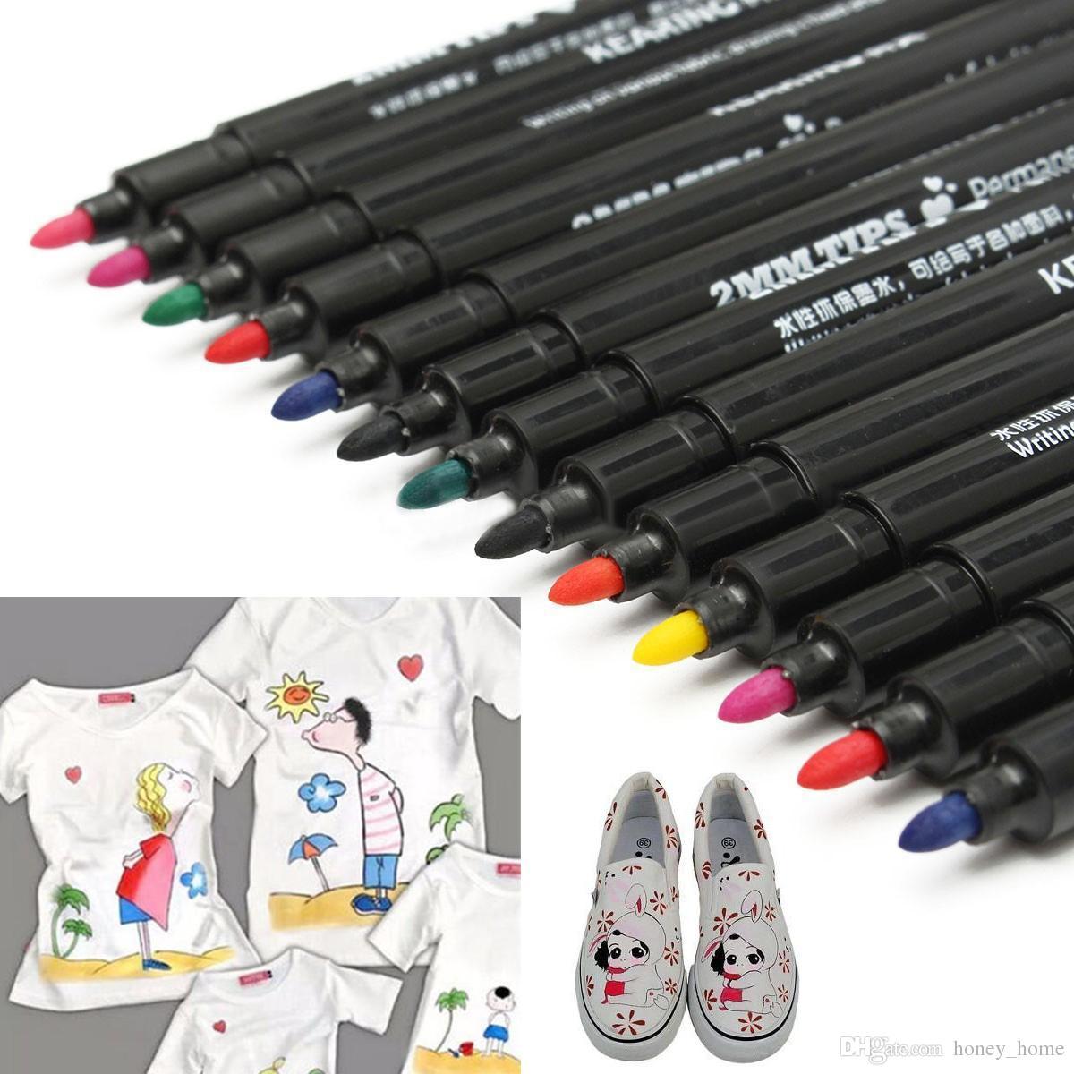 T-Shirt Permanent Fabric Paint Marker Pen Textile Clothes Shoes DIY ZN