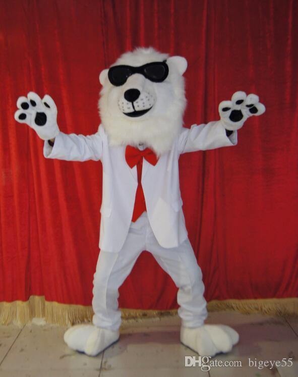 high quality Real Pictures Deluxe White lion mascot costume anime costumes advertising mascotte Adult Size factory direct free shipping