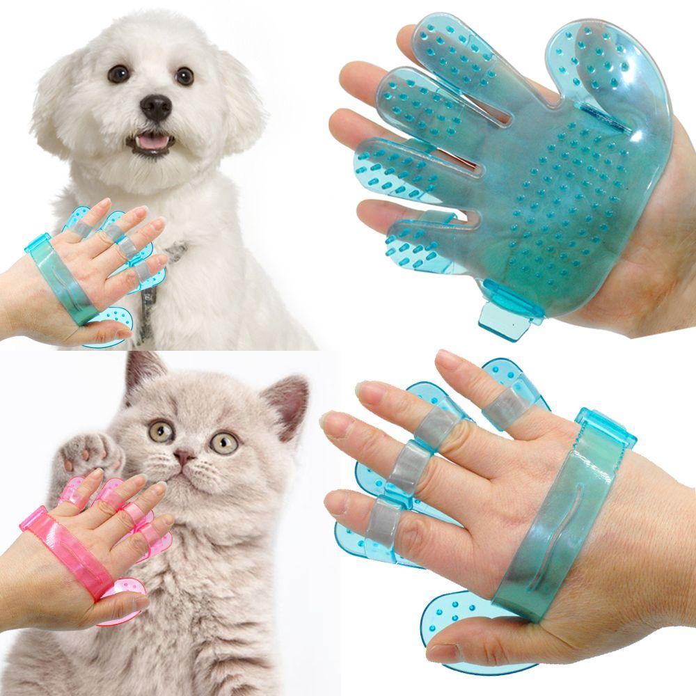 애완 동물 강아지 고양이 손질 샤워 목욕 마사지 브러시 빗 손 모양의 장갑 빗 블루 핑크
