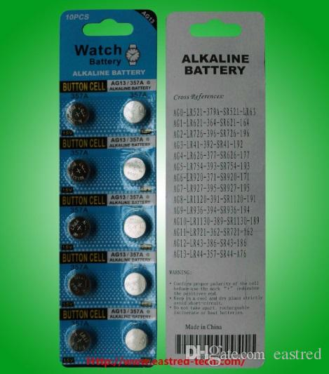 200cards per Lot Free Shipping 0% Hg Pb Ge, Mercury free AG13 LR44 A76 1.5v alkaline button battery Watch batteries 10PCS per blister card