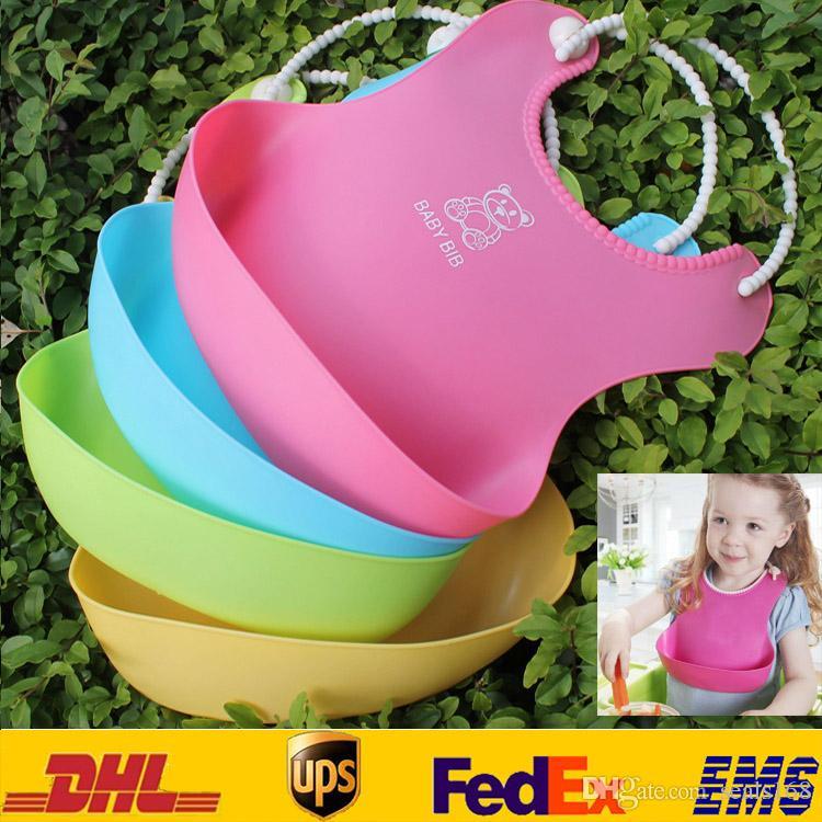 DHL New Baby Infants Kids Cute Bibs Lunch Bibs Newborn Children Waterproof Towel Washable Feeding Silicone Burp 0-6T 4 Color ZJ-B04