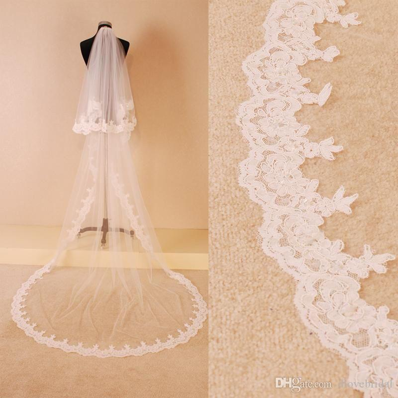 Free Shipping Two Layer Tulle Bridal Wedding Veil Lace Appliqued Edge Chapel Train Long Lace Muslim Hair Accessory White Ivory with Comb