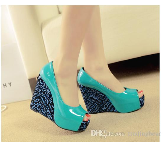Trendy alphabet printed platform wedges blue black patent leather shoes multi colors big small size 30 to 41 42 43