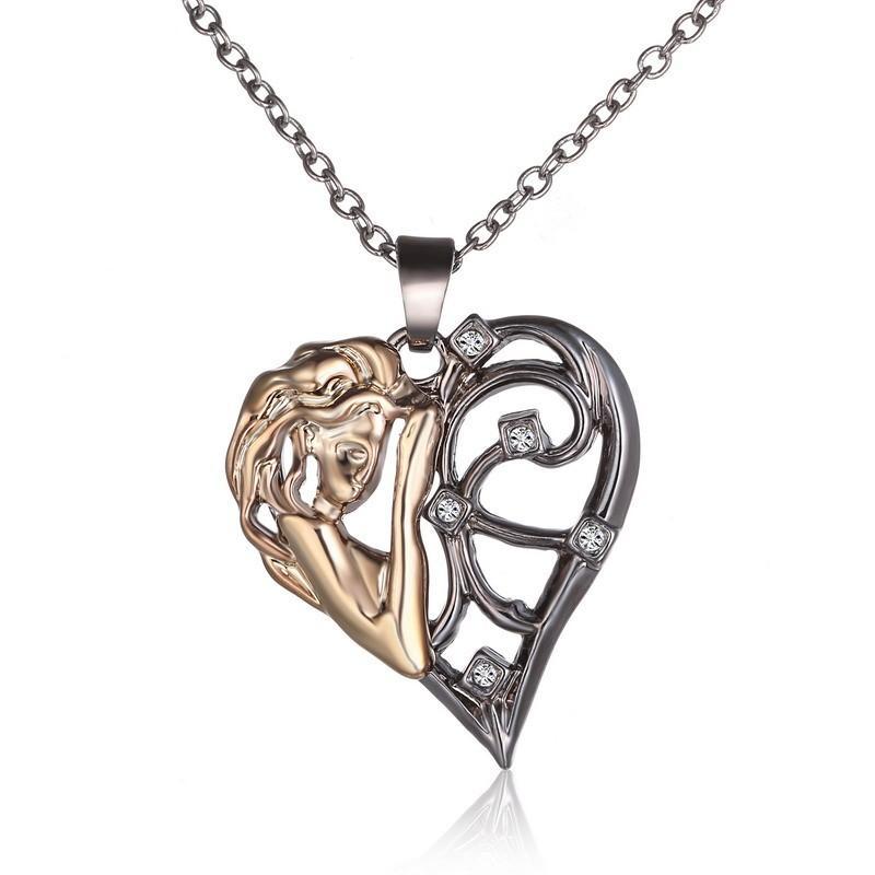 امرأة جديدة الشكل تمثال القلب قلادة قلادة لفتاة صديق أفضل الهدايا