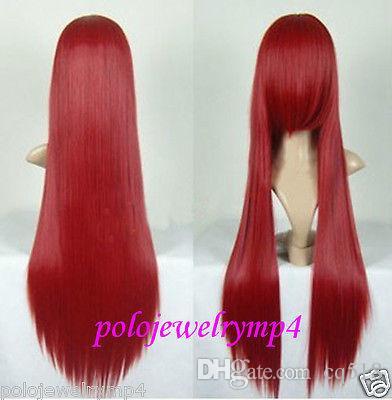 Оптовая бесплатная shippingNew Косплей Длинные Прямые Темно-Красный Партия волос Парик 80 СМ