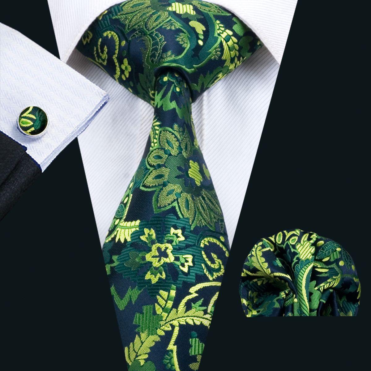 Klassische Seide Mens Ties Green Tie Sets Floral Mens Krawatte Krawatte Hanky Manschettenknöpfe Set Jacquard Woven Meeting Business Hochzeit Party Geschenk N-1444
