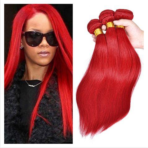 실키 스트레이트 브라질 빨간 머리 확장 9A 버진 브라질의 머리카락 두 번 Wefts 붉은 색의 버진 헤어 위브 번들 3 개 로트