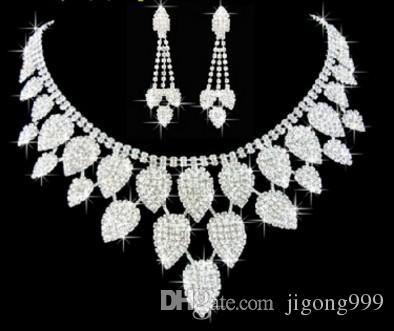 белый цвет Кристалл свадьба невесты леди набор ожерелье серьги jju