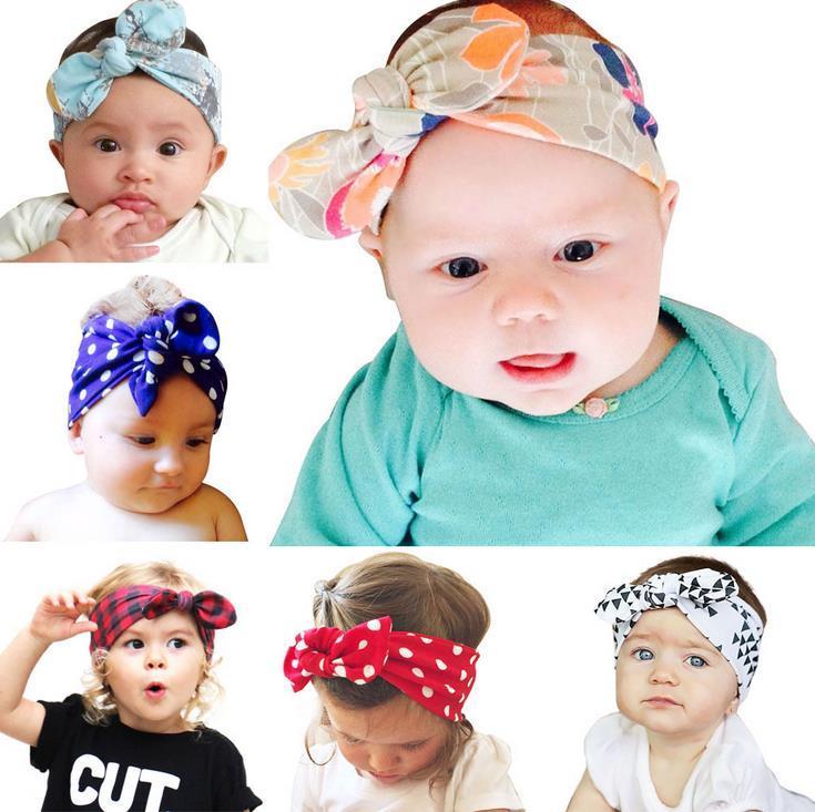 Nourrisson mignon Bandeaux Plaid Dots Floral Cotton Hair Bow Baby Girl Head Band Enfants Headwrap doux Hairband Enfants Bandanas Accessoires cheveux