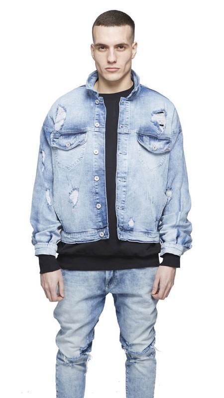 tukkukauppa yksityiskohtaisesti myydään maailmanlaajuisesti Mens Oversized Distressed Denim Jackets Streetwear Kanyye West Light Blue  Jacket Hip Hop Men Autumn Coat Oversized Denim Jacket White Bomber Jacket  ...