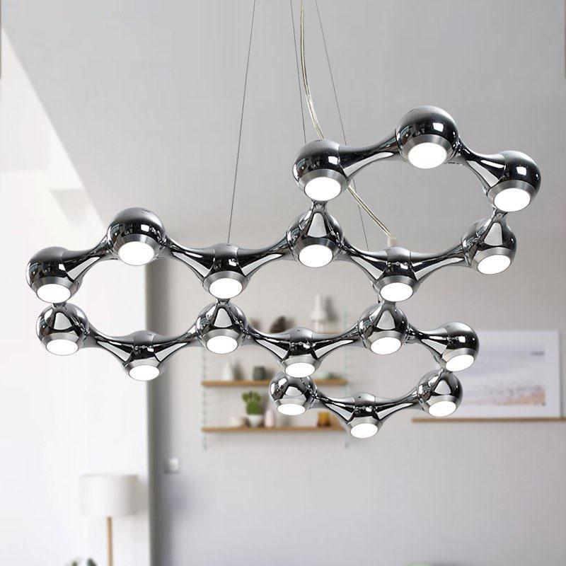 LEVOU Luz Do Candelabro de Prata Preta Moderna DNA LED Lâmpada pingente Lustre Suspensão molécula lâmpada Pendurado Iluminação Gota Luz 100% de Garantia