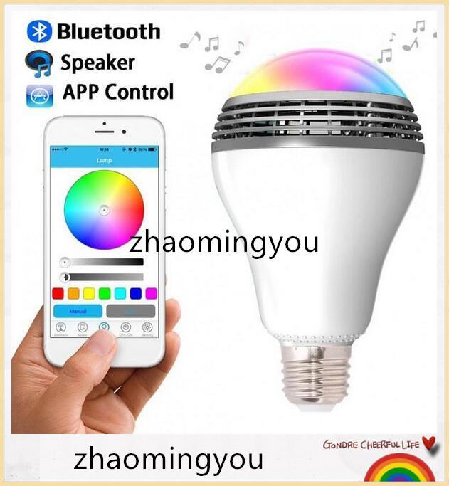 1 PCS Contrôle Sans Fil Haut-Parleur Intelligent Musique Audio Haut-Parleur LED RGB Couleur Ampoule Lampes E27 D5528B