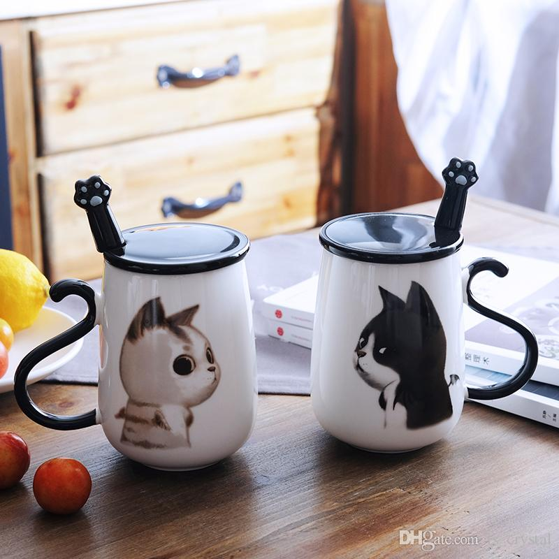 16oz Cute Cat Coffee Mug Ceramic Milk Mug Tea Cup with Handle Lid and Stainless Steel Paw Spoon Birthday Gift DEC315
