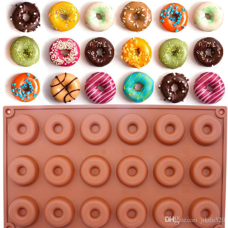 18-Cavity Silicone Mini Donut Doughnut Dessert Baking Mold Round Shaped Cake Chocolate Candy Soap Mould Biscuit Cupcake Mold