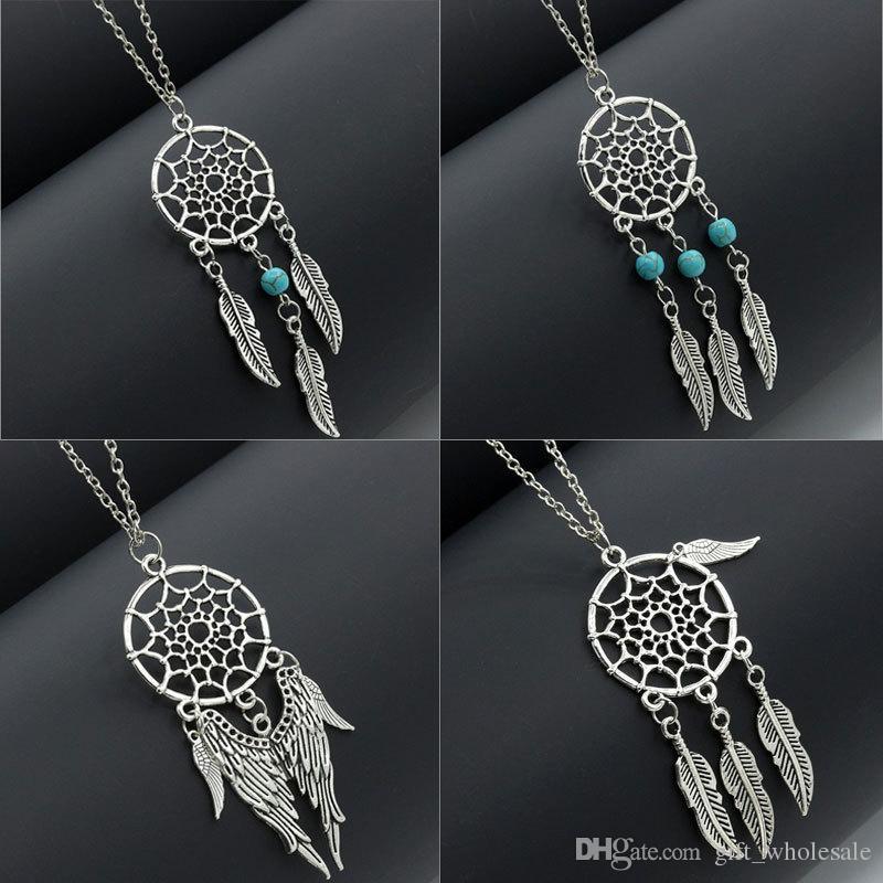 6 Stili Collane dichiarazione dream catcher hot dreamcatcher argento antico ali turchesi piume lunghe collane ciondolo per le donne