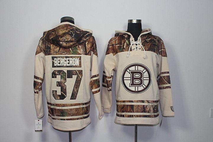 Qualité supérieure ! 2017 New Boston Bruins Old Time Chandails de hockey 37 Patrice Bergeron Camo À Capuche Pull Sweats Sport Hiver Veste
