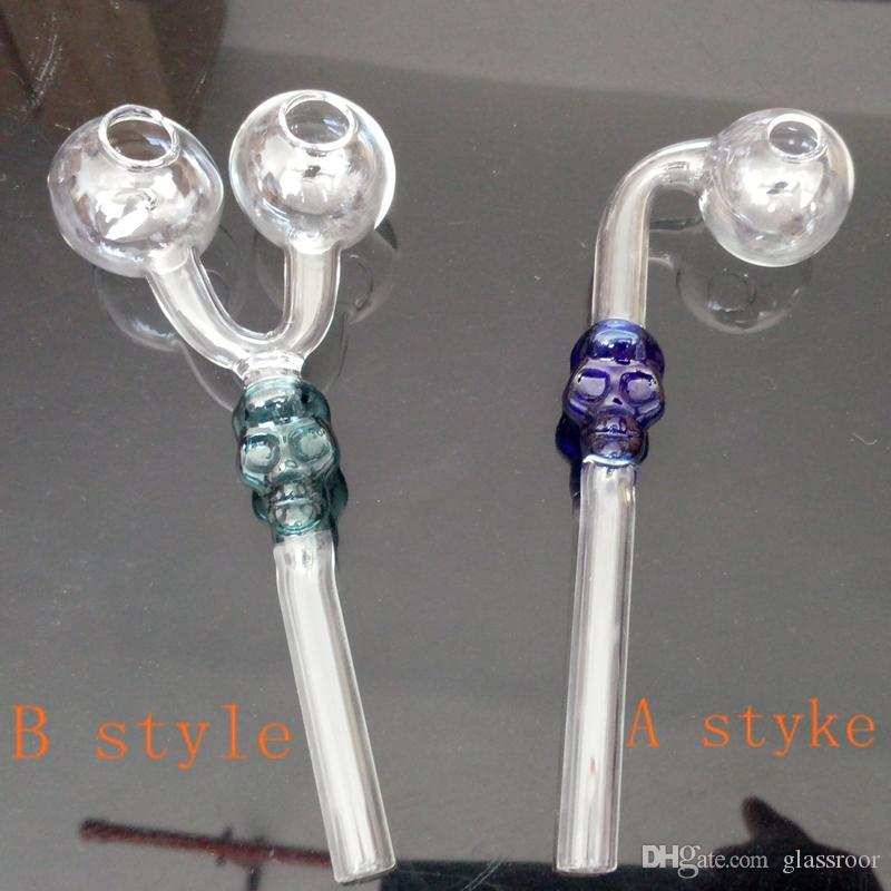 2style 5 color Skull Glass Pipes 6 inch Recycler Curved Glass Pipes Hand Blown 2016 Skull Glass Oil Burner Pipes Tobacco Pipe
