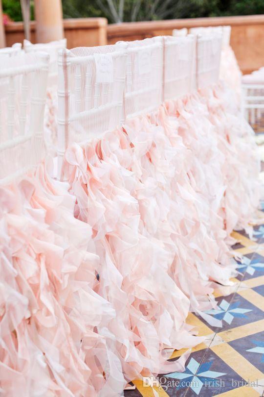 2016 Bush Pink Wedding Chair Sashes Vintage Romantic Organza Taffeta Chair Covers Floral Wedding Supplies Luxurious Wedding Accessories 02