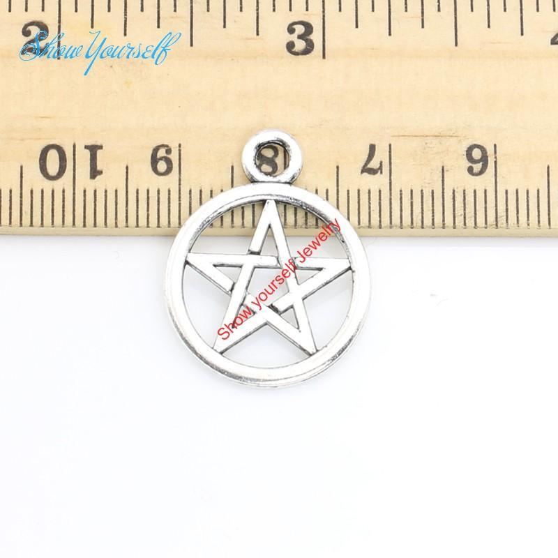 15 teile / los Antikes Silber Überzogene Stern Pentacle Charms Anhänger für Halskette Schmuck Handgemachte Fertigkeit DIY 25x20mm