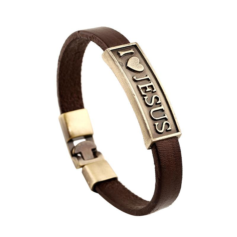Fashion Jewelry I Love Jesus Heart Star Anchor Alloy Leather Bracelet Men's Casual Personality Beaded Bracelet Vintage Punk Bracelet B1149
