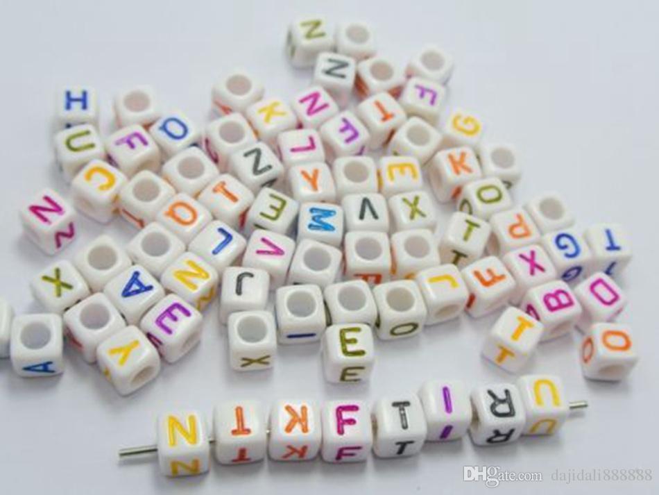 Hot ! 250pcs WHITE bead mixed Alphabet /Letter Acrylic Cube Beads 6x6mm Big hole Beads