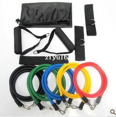 11pcs en 1 sistema Bandas de resistencia del látex aptitud del ejercicio del tubo de la cuerda Conjunto Yoga ABS Fitness Workout Dropshipping