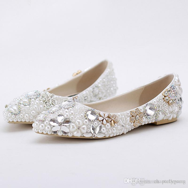 New Arrival Silver Rhinestion Wedding Shoes For Bride 2017 Low Heel White  Designer Shoes For Women ...