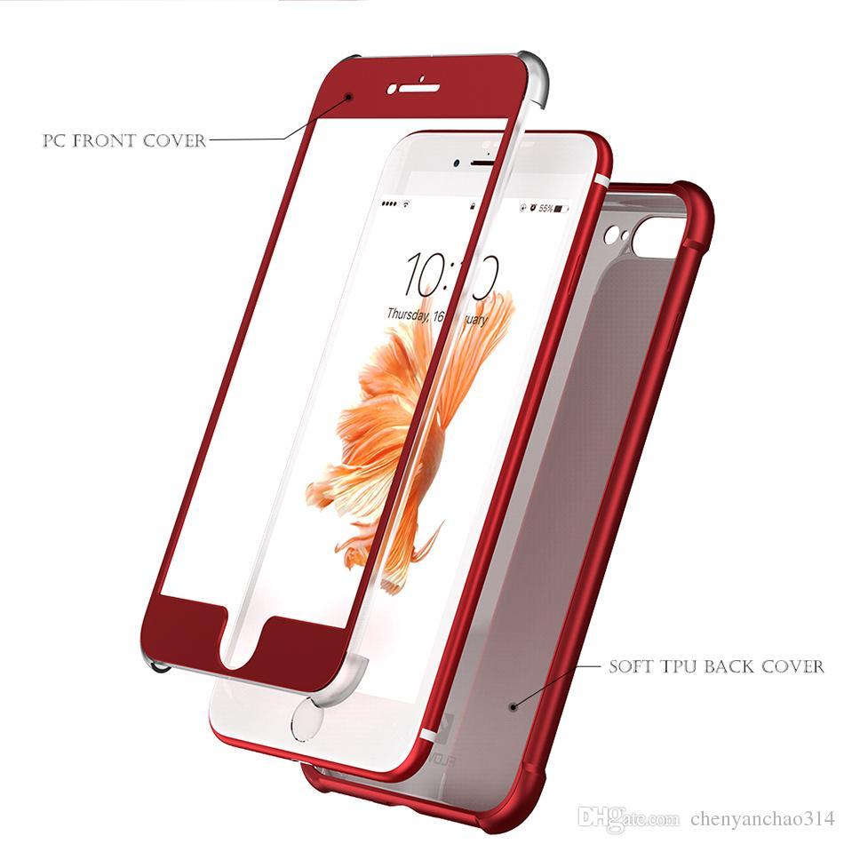 360 grau de cobertura total case para iphone 6 6 s 7 plus 6 6 s 7 caso moda 2 em 1 casos de cobertura anti-knock para iphone 6 6 s 7