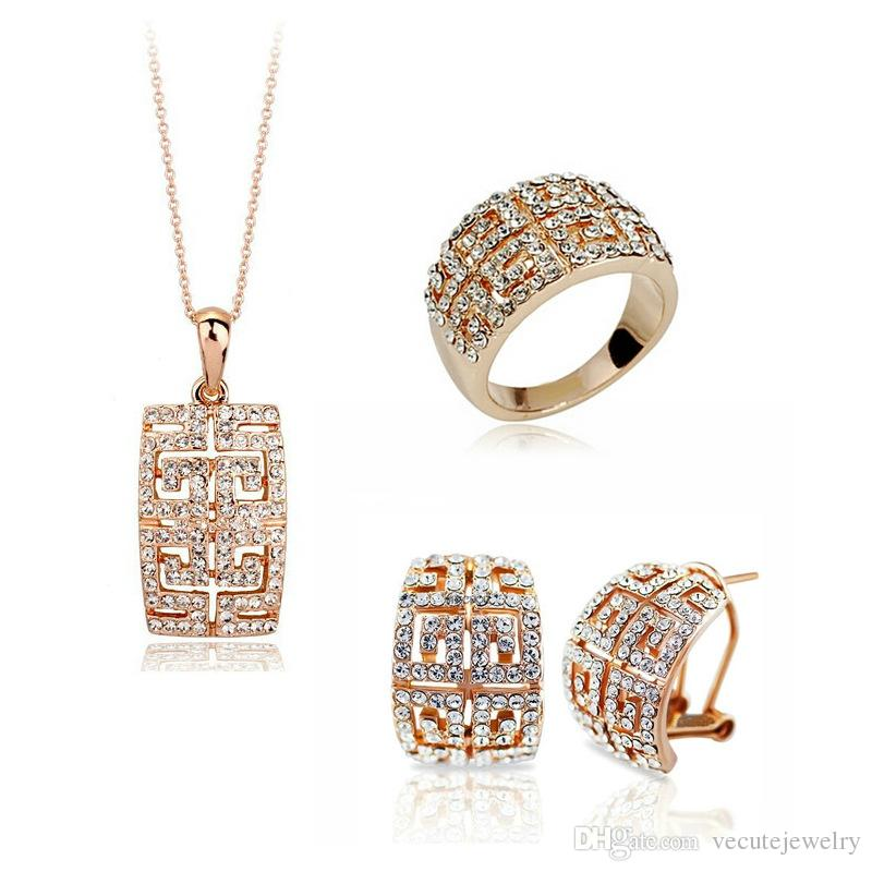 Luxury Noble Gold Plated Ausrtrian Crystal Necklace Earrings Jewelry Sets for Women Made With Swarovski Elements Wedding Jewelry Set