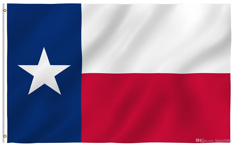 Hohe Qualität 90x150cm Texas State Flag - lebendige Farbe und UV-Fade Resistant - 100% Polyester Texan TX Gartenfahnen mit Messing-Ösen