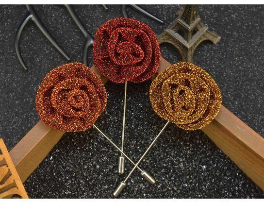 Estilo longo 9 * 3.5 cm Tecido de Poliéster Flash Rose Flor Broche Moda Ternos dos homens Decoração Broches Pinos Acessórios de Jóias
