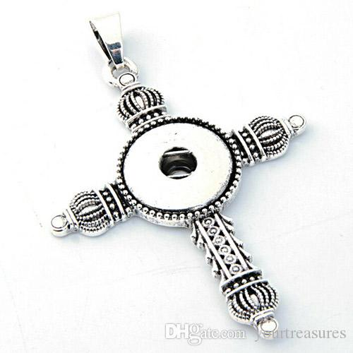 20Pcs 2016 Time-limited Necklace Cross Collares Snap Button Jewelry Newest Pendant Cross Antique fit 18mm Snaps direction