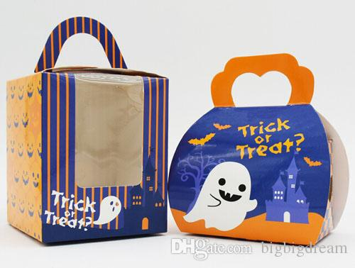 Хэллоуин коробки оптом 100 шт./лот для 1 кекс коробки с ручкой,9.3*9.3*11 см 2 стили торт коробка,небольшие печенье подарочная коробка