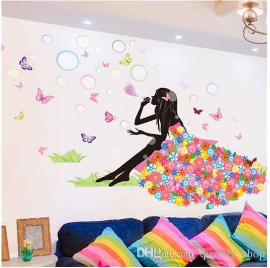 Wall Sticker Home Decor Pretty Flower Fairy Beautful Girl Blow Bubbles Creative Design PVC Mural Decal Room Decorative