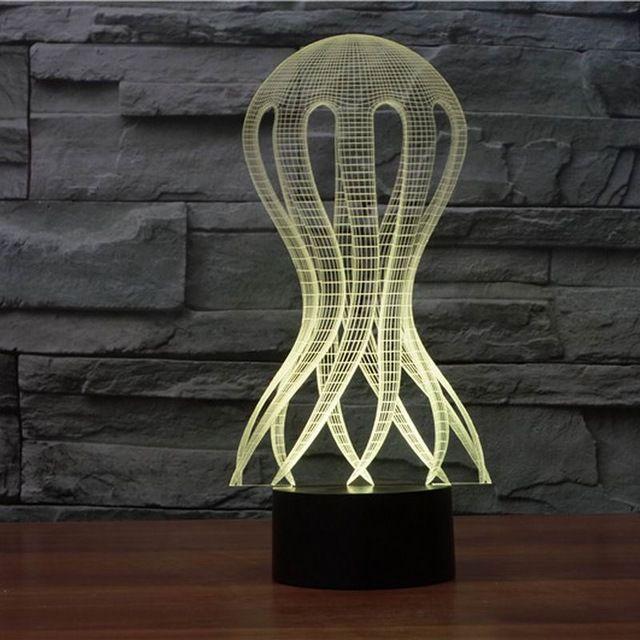 2019 nuovi 3D LED Jellyfish Forma Tabella luce di notte come la decorazione ha condotto la lampada Luci di Natale 3064