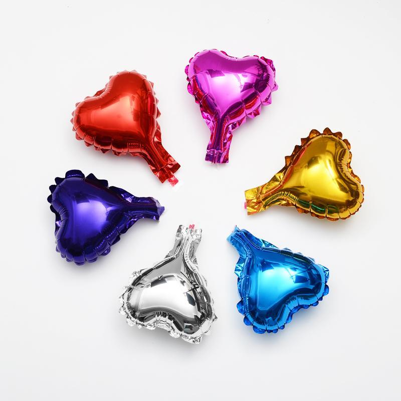 50pcs coração forma folha de hélio balão decoração de aniversário 5 polegadas vermelho / azul / verde / roxo / ouro / prata cor