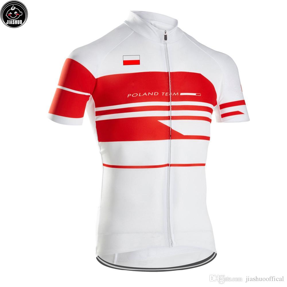 Klasyczna Nowa Polska MTB Road Racing Team Bike Pro Kolarstwo Jersey / Koszule Topy Odzież Oddychanie Powietrza Jiashuo