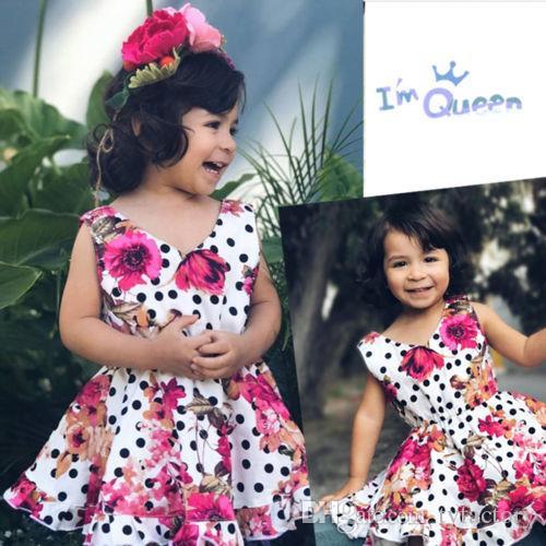 Belle Bébé Fille Robe Enfant D'été Floral Princesse Fête D'anniversaire Robes De Mariée Dot Style Vintage Enfant Adorable Une Pièce Robe 1-6 T Vêtements