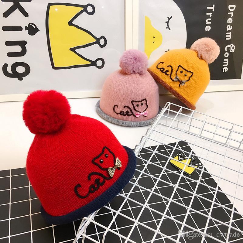 Baby Hats Poms 6 Colors Knit Hat Girls Boys Beanie Winter Toddler Kids Boy Girl Faux Warm Crochet Cap 3M-2years Children's