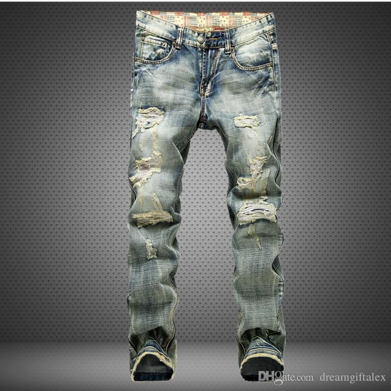 Yırtık erkekler kot yıpranmış erkek tahrip İnce biker jeanscasual sıska holesdenim pantolon yıkanmış sarı renk yağma tulum ...