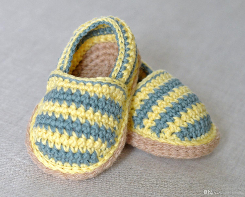 Best 100% Handmade Crochet Pattern Baby Espadrilles Cotton Newborn ...