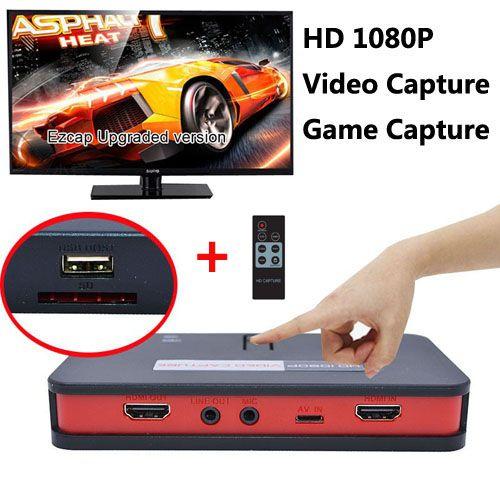 HD 1080P Ezcap Video Game Capture AV / HDMI / YPbpr Recorder en USB Flash SD Card para PS4 PS3 XBOX 360 One WiiU