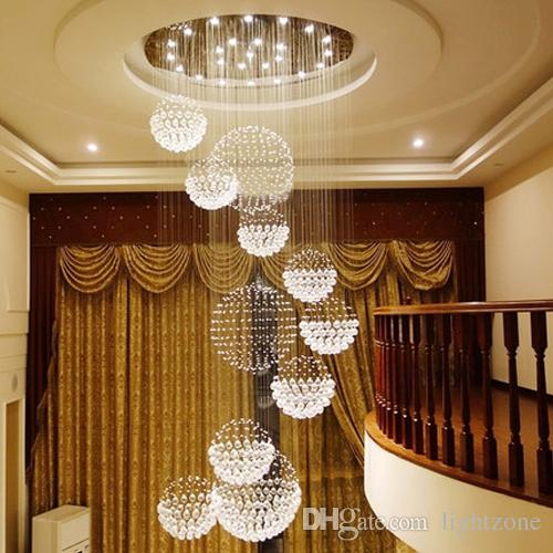 Chandeliers high end K9 crystal led crystal ceiling pendant chandeliers lighting hanging lamp staircase hotel hall villa crystal lighting