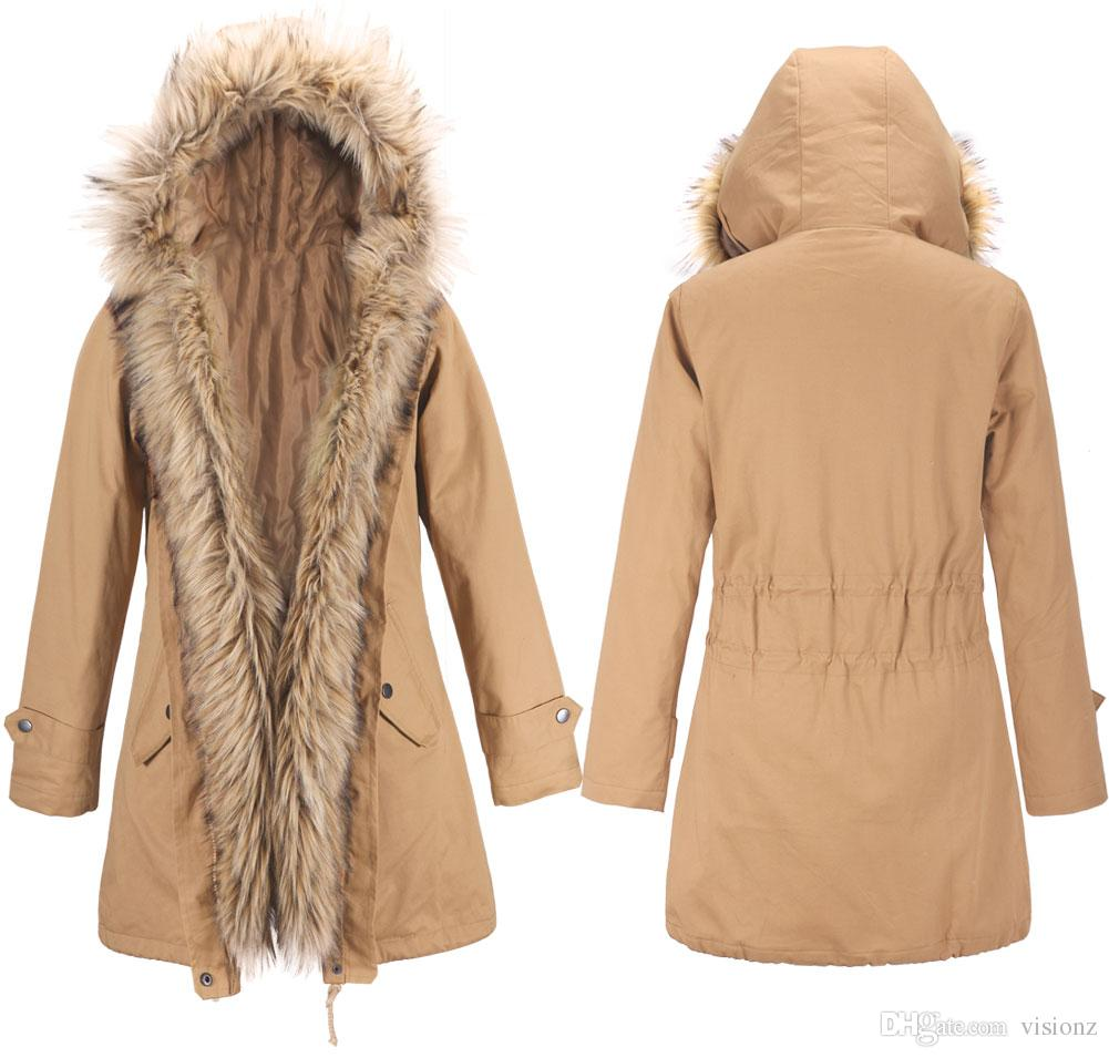 66c5baac5 2019 Winter Womens Faux Fur Lining Parka Jacket Woman Raccoon Fur Collar  Hooded Warm Parkas Multi Color Coat Tops From Visionz, &Price;   DHgate.Com