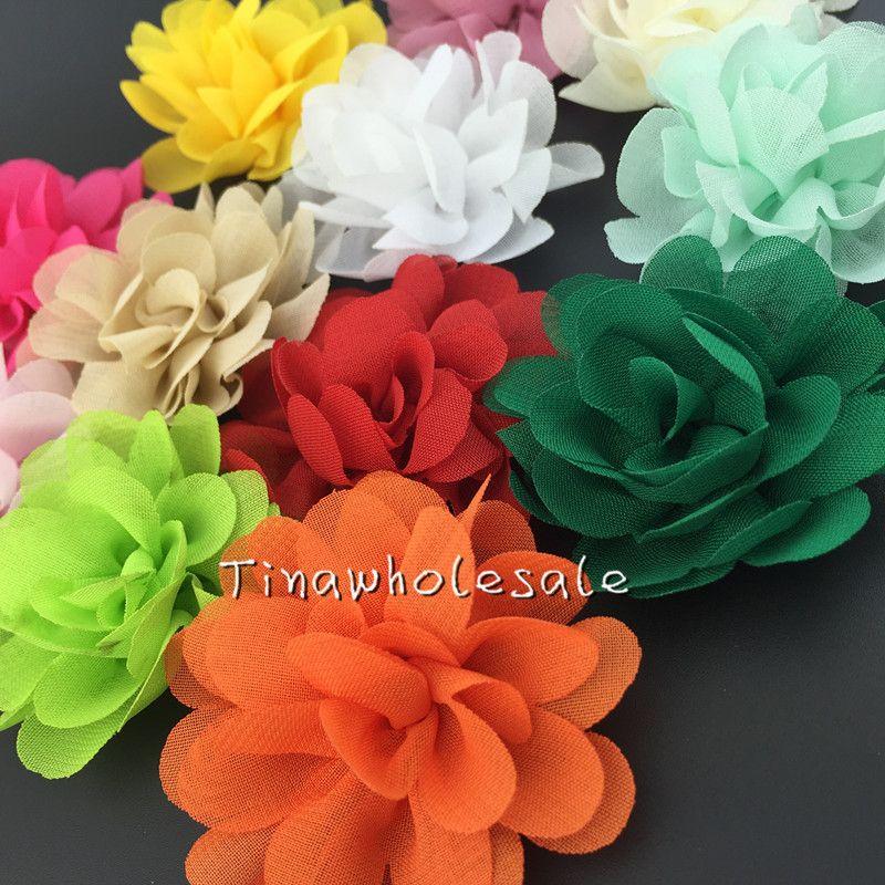 """2 """"mini couleur unie tissu de mousseline de soie rose a augmenté pour accessoire de cheveux de bébé 60pcs / lot livraison gratuite"""