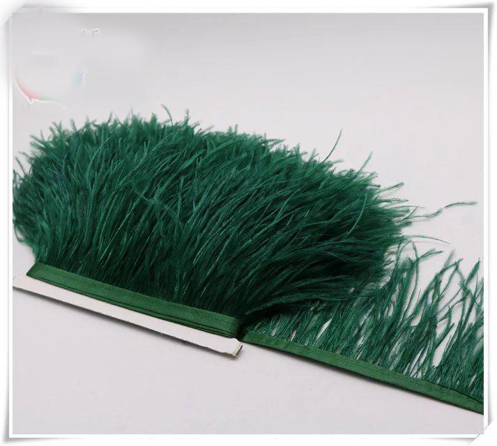 도매 10yards / lot 짙은 녹색 5-6 인치 너비 타조 깃털 드레스 장식 바느질 공예 스커트 공급 프린지 트리밍