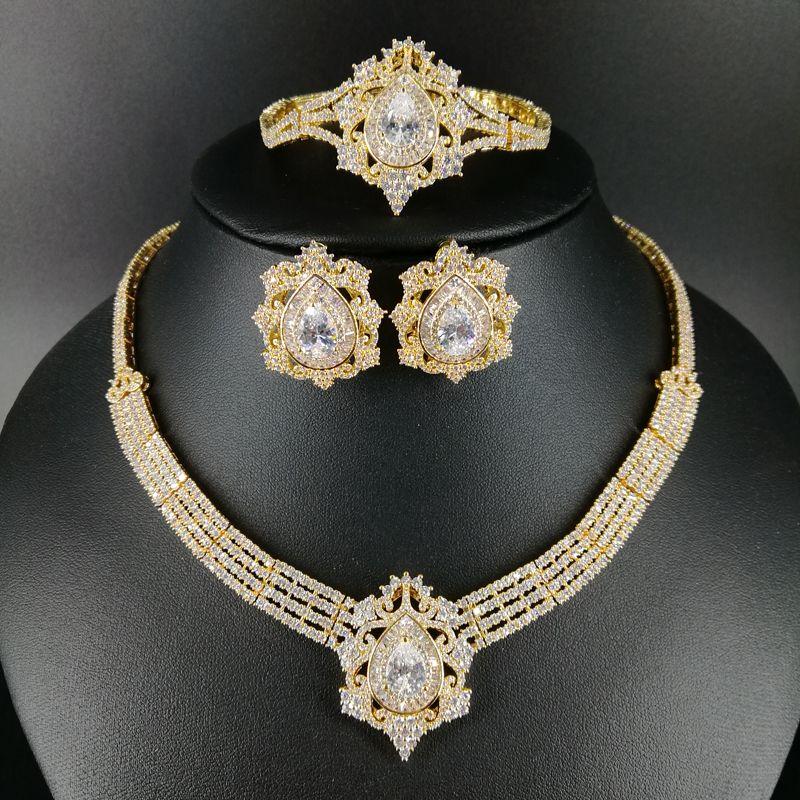 NUOVA MODA Retro zircone di lusso d'oro collana orecchino braccialetto anello matrimonio sposa banchetto vestito convenzionale insieme dei monili