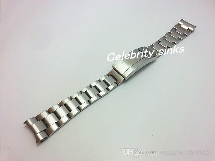 21mm 스트랩 새로운 고품질 솔리드 스테인레스 스틸 시계 밴드 곡선 엔드 조절 팔찌 버클 롤렉스 시계 팔찌에 대한