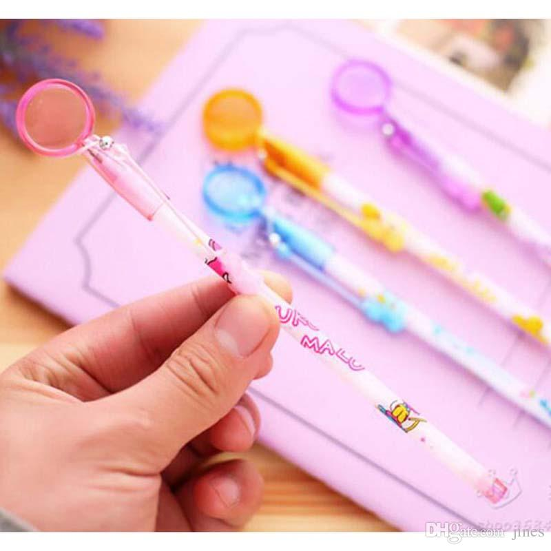 20pcs/lot Novelty Cartoon Magnifying Glass Shape Ballpoint Pens Cute Pens for Writing Stationery Accessories Office Pen Material Escolar