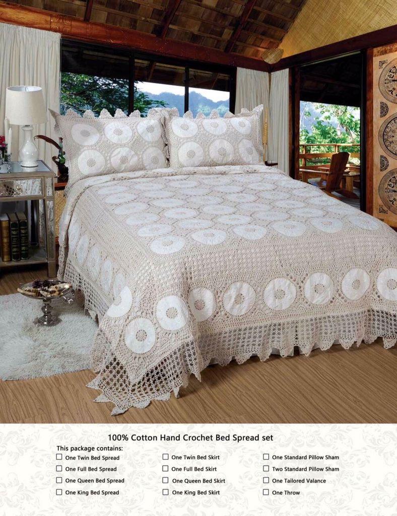 100% 3pcs copripiumino set da letto a mano del crochet del cotone classico letto diffusione di lusso federa impostati beige stile americano copriletto biancheria da letto